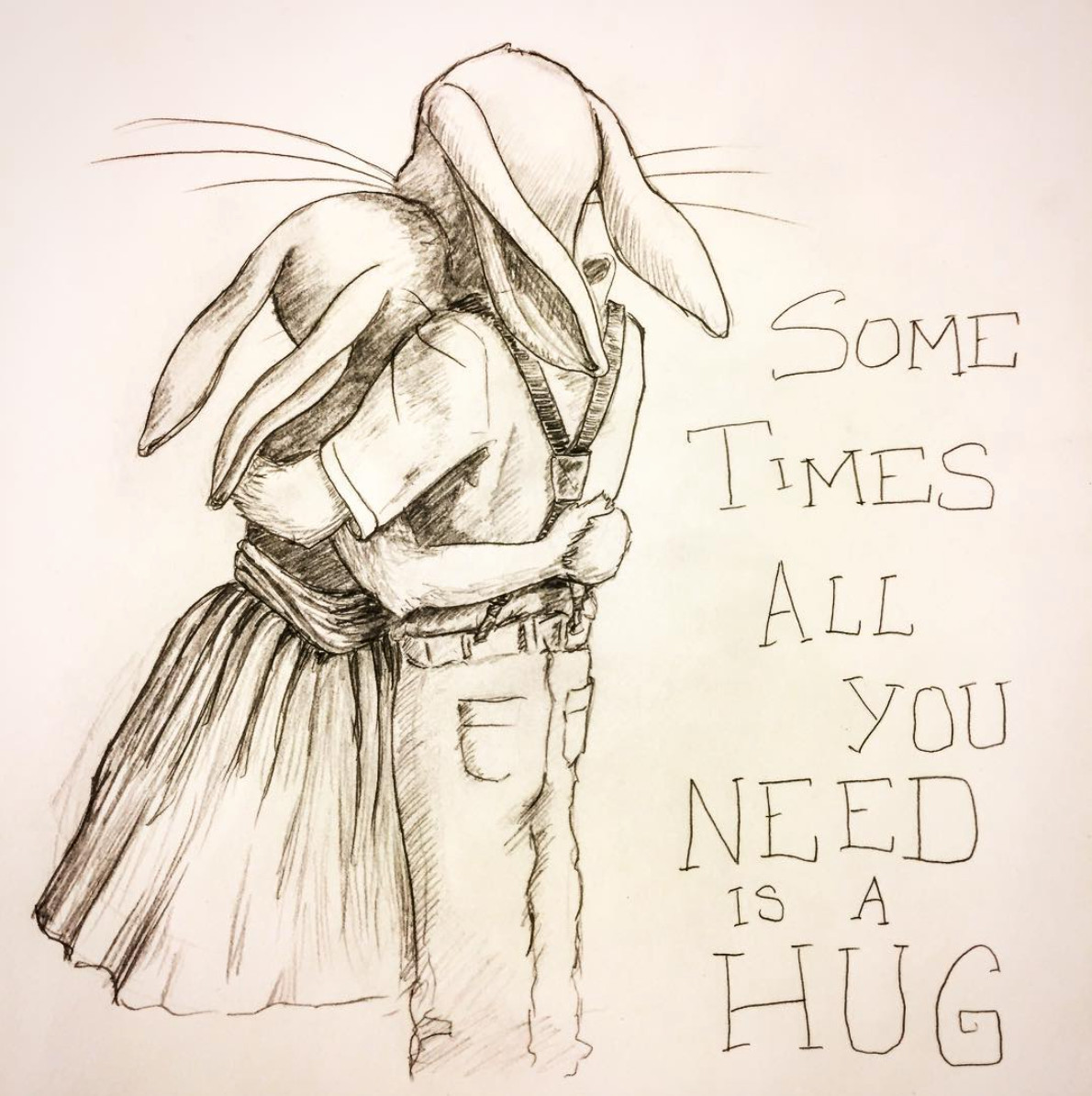 Rabbits hugging sketch meg lemieur