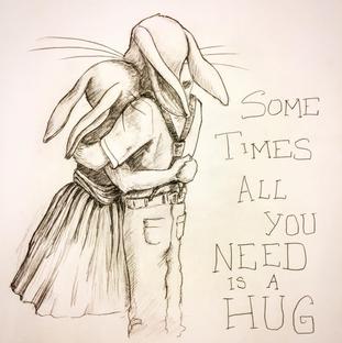 Rabbits Hugging Sketch, Meg Lemieur