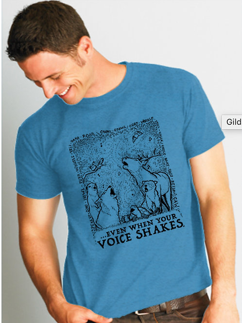 Even When Your Voice Shakes; blue crew neck