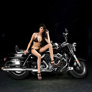 Queen of Brillancy India with the classy Harley Davidson