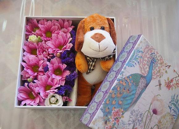 "Коробочка с живыми цветами ""РОМАШКА"""