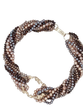 Multi-Strand Pink and Grey Pearl  Necklace with Sterling Clasp