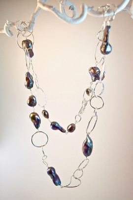 Black Pearl Necklace with Sterling Chain