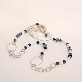 Floating Kep medallion hand formed with Silver Chain, Lava Stones and fresh water Pearls