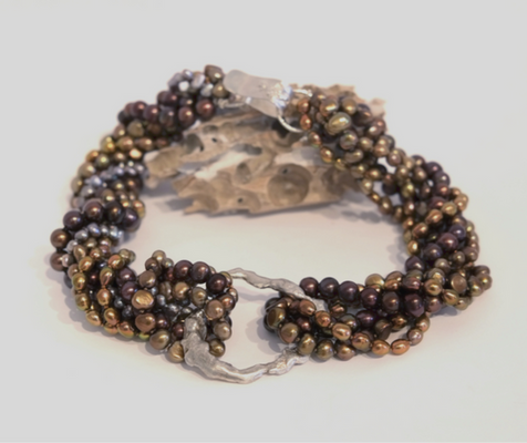 Multi-Strand Goldstone Pearl Nechlace with Sterling Clasp
