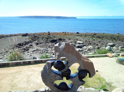 Sculpture outdoors by the sea