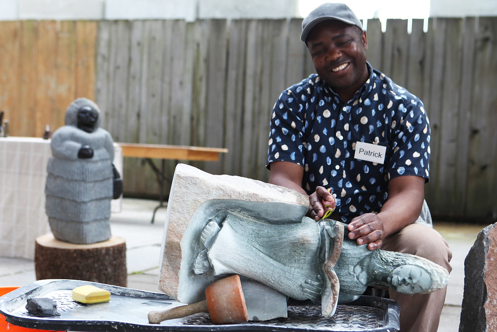 Patrick Sephani working on his new opalstone sculpture