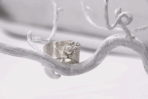 Sterling silver reticulated ring, 5.2 grams in weight