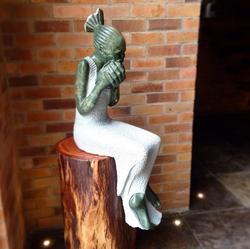 Stone sculpture indoors