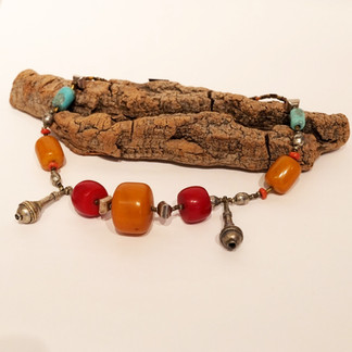 Antique silver and turquoise from Tibet, red & yellow amber from Africa, silver small beads from Morocco