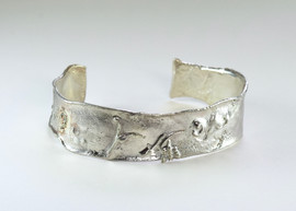 Narrow Reticulated Sterling Bracelet