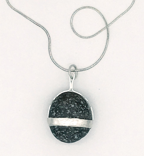 Sterling Necklace with on Single Stone