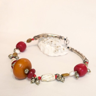 Hand Formed orange and red necklace