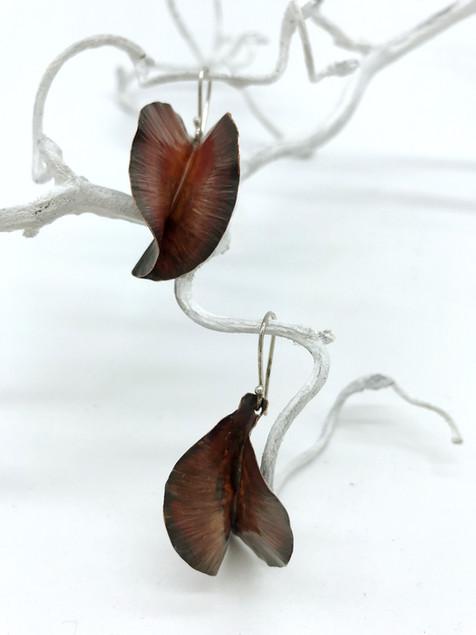 Fold formed Copper Leave Shaped Earrings