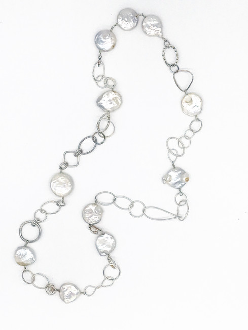 White Pearl Necklace with Sterling Chain