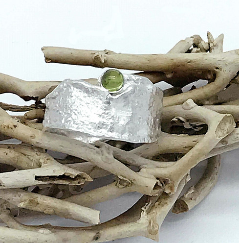 Reticulated Sterling Ring Hand set Peridot Cabochon