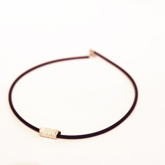 Silver Tube with rubber strand (sml) necklace
