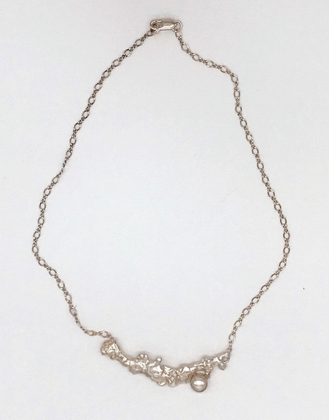 Sterling Necklace with one Single White Pearl