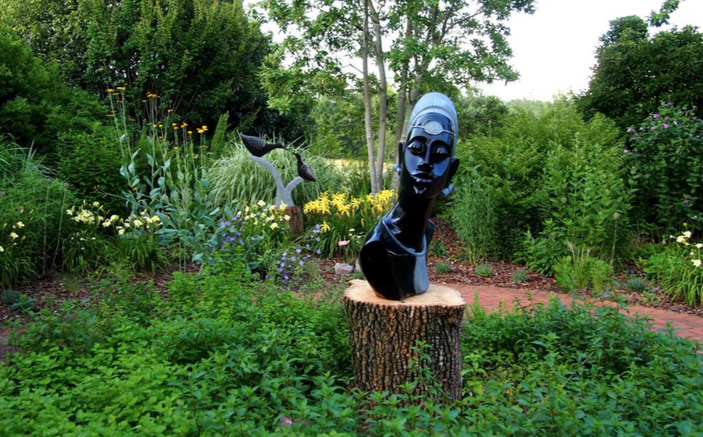 African sculpture in garden