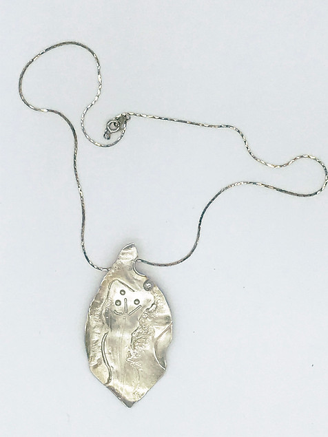 Sterling Fused Leaf Pendant with Necklac