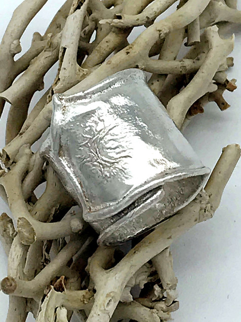 Wide Reticulated Sterling Silver Ring