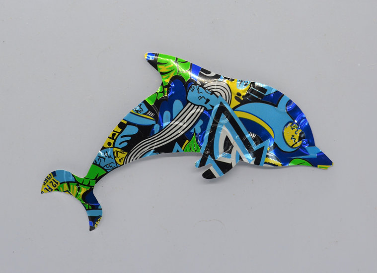 Recycled Can Magnet-Dolphin