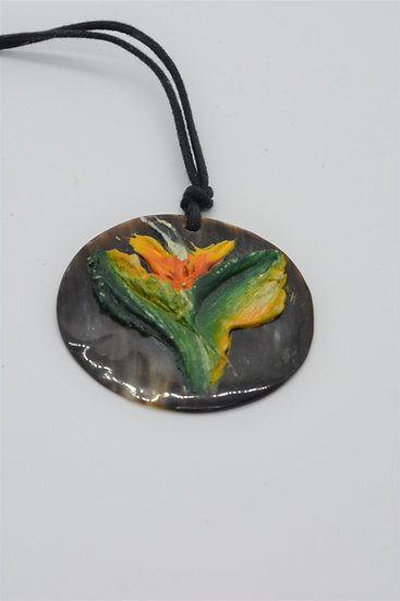 Bull Horn Painted Necklace