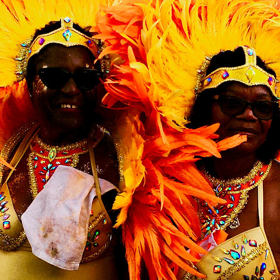 Two Women-Yellow Feathers