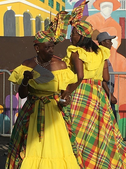 Two Women In Yellow Madras