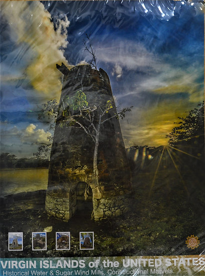 Sunset Watermill Poster