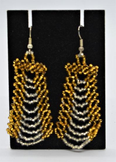 Gold & Clear Beaded Earrings