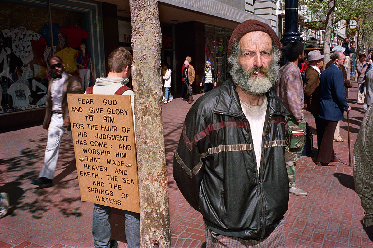 Homeless Man with Sandwich Board & Homeless Man on Market St, 1986
