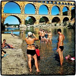 Sunbathers, Pont du Gard, France, 2012