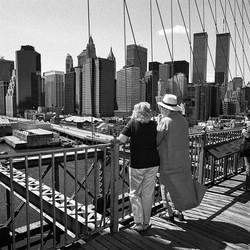 NYC Skyline from Brooklyn Bridge, New York, 2000