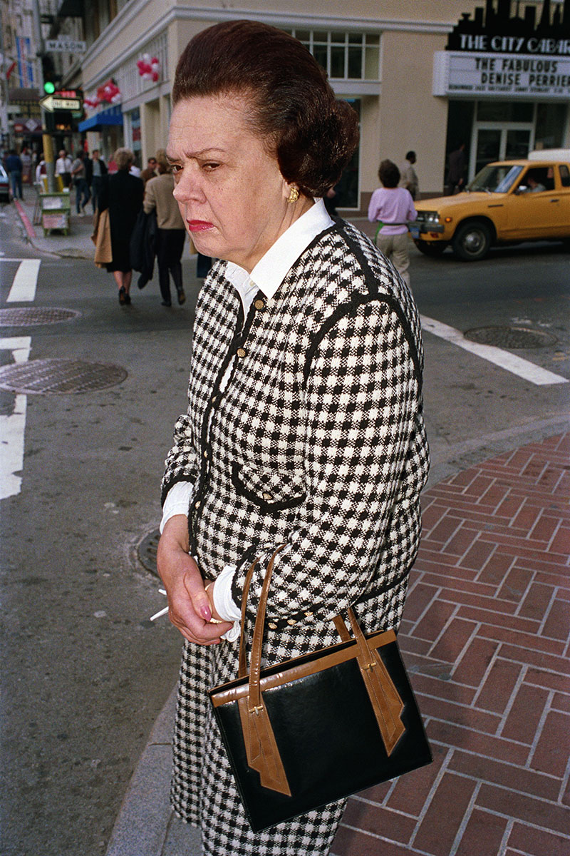 Woman Wearing Checked Dress Suit on Mason St, 1986