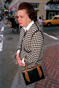 Woman Wearing Checked Dress Suit on Mason St, 1986