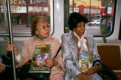 Two Women on F-Line Trolly on Market St, 1986