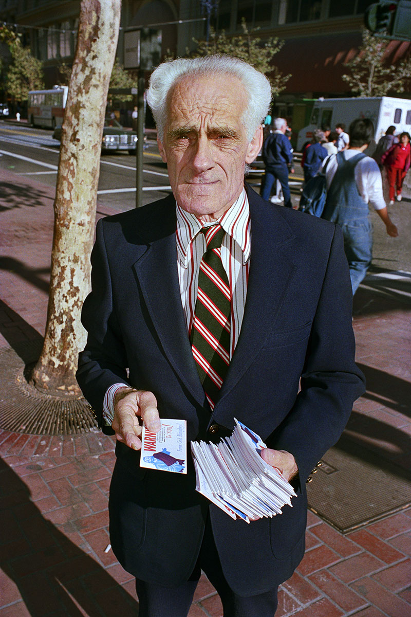 Man Handing out Pamphlets on Market St, 1986