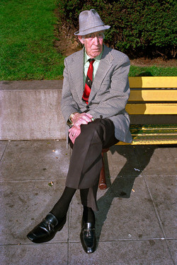 Man Sitting on a Yellow Bench in Union Square, 1986