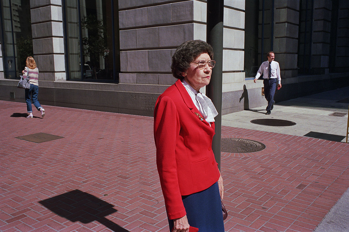 Woman Wearing Red Sweater on Market St, 1986