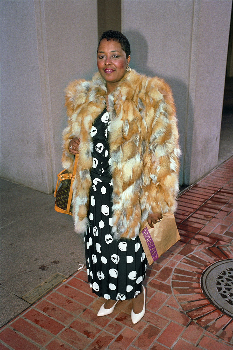 Woman Wearing Fur Coat on Market St, 1986
