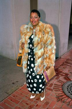Woman Wearing Fur Coat on Market St, 1986