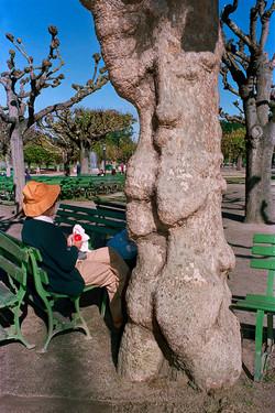 Woman Eating Apple in Golden Gate Park, 1986