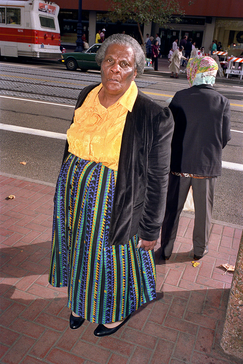 Woman Wearing Multicolored Skirt on Market St, 1986