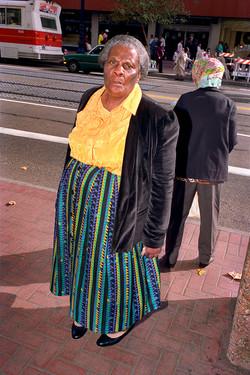 Woman Wearing Multicolored Skirt on Market St, 1986