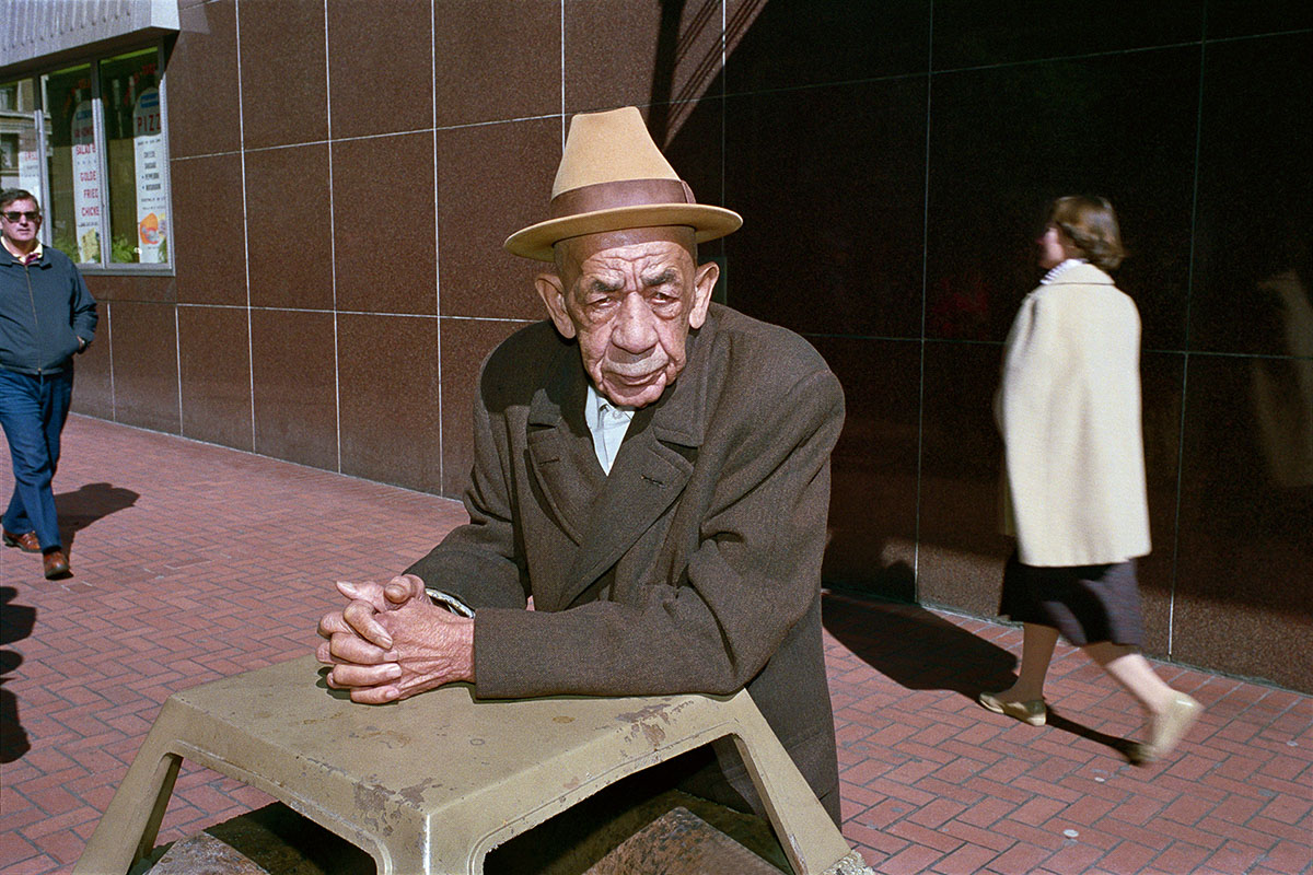 Man Leaning on Garbage Can on Powell St, 1986