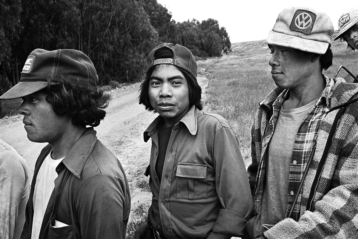 Three Fieldworkers Waiting at Lunch Wagon, 1979