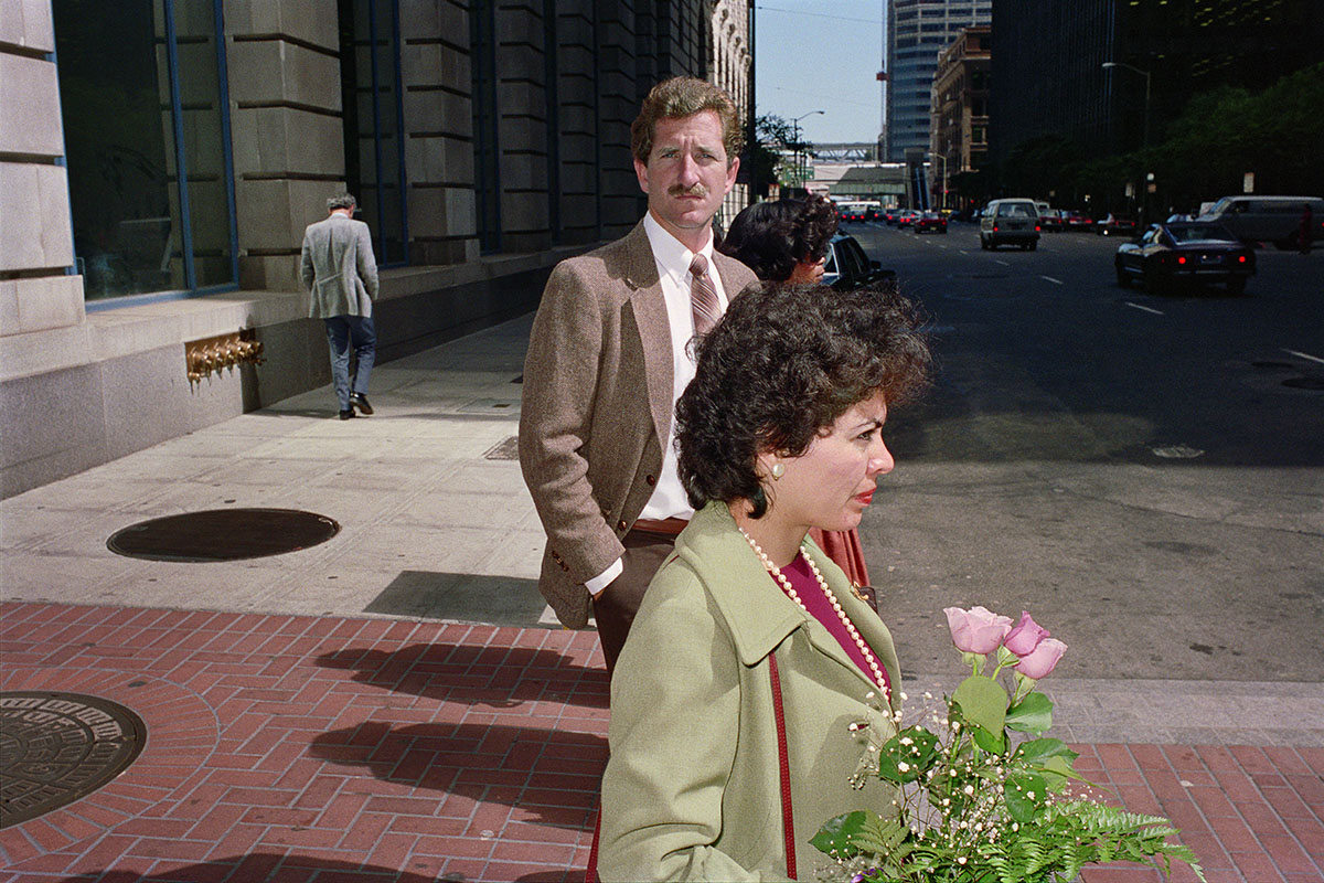 Man & Woman Waiting at Crosswalk on Market St, 1986