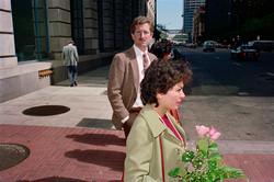 Man & Woman Waiting at Crosswalk on Market St, 1986