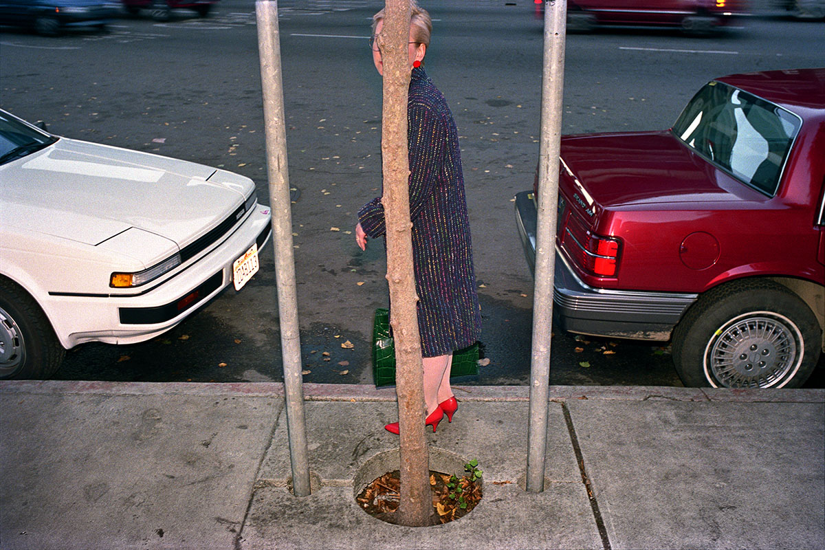 Woman Behind Tree on Mason St, 1986